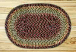 Burgundy, Black, and Sage Oval Jute Rug - 27 x 45 inch