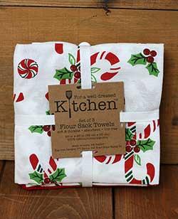 Candy Cane Flour Sack Towel Set