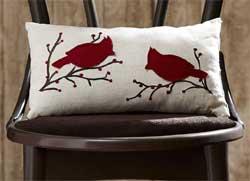 Season's Greetings Cardinal Pillow - Rectangle