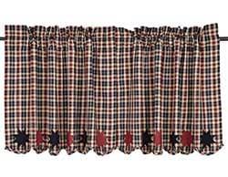 Carson Star Plaid Cafe Curtains - 24 inch Tiers
