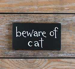 Beware of Cat Wood Sign