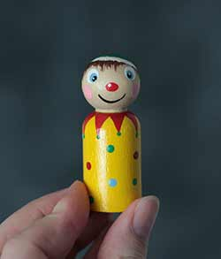 Jolly Elf Clown Peg Doll