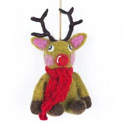 Christmas Reindeer with Knit Scarf Ornament