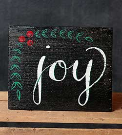 Joy with Vine Hand-Lettered Wooden Sign