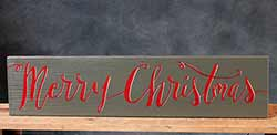 Merry Christmas Hand-Lettered Wooden Sign - Green