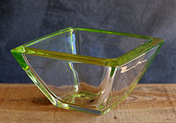 Small Waither Glass Square Bowl - Green