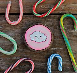 Cloud on Pink Wood Slice Ornament (Personalized)