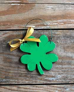 Shamrock Personalized Ornament - Gold Ribbon