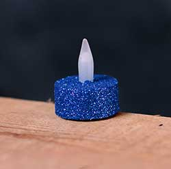 Blue Glitter LED Tealight Candle