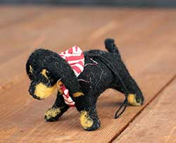 Dachshund Felt Ornament - Black