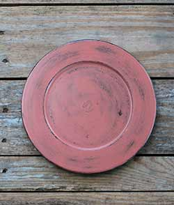 Distressed 9.5 inch Candle Plate - Coral Salmon