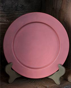 Distressed Wooden Plate, 9.5 inch - Coral Pink