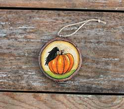 Crow with Pumpkin Wood Slice Ornament