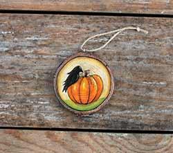 Crow with Pumpkin Wood Slice Ornament