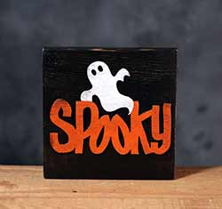 Spooky Halloween Wood Sign - Black