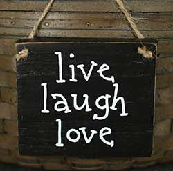 Live, Laugh, Love Hand Lettered Wood Sign (Choose Color)