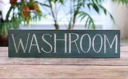 Washroom Wood Sign (Custom Color)