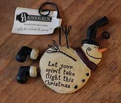 Flying Snowman Ornament - Spirit Take Flight
