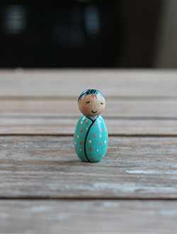 Baby Boy Peg Doll - Teal & Blue