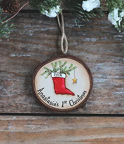 Our Backyard Studio Baby's 1st Christmas Stocking Wood Slice Ornament
