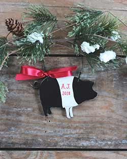 Pig Ornament - Black and White (Personalized)