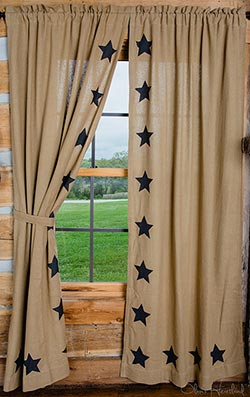 Market Street (formerly IHF - India Home Fashions) Black Star Deluxe Burlap Panels - 84 inch