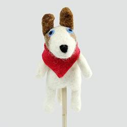 Dog with Red Scarf Finger Puppet