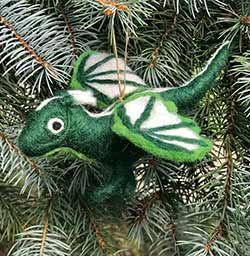 Green Dragon Wool Ornament