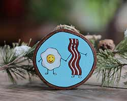 Bacon and Eggs Wood Slice Ornament (Personalized)