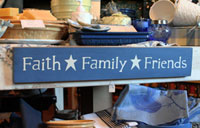 Faith, Family, Friends Handmade Sign - Soldier Blue