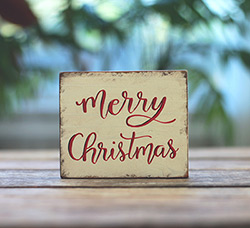 Merry Christmas Sign - Distressed White