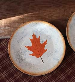 Oak Leaf Painted Decorative Plate with Ivory Crackle