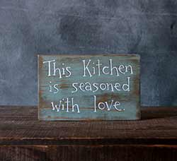 This Kitchen is Seasoned With Love Wood Sign - Blue