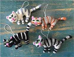 Striped Cat Wool Ornament