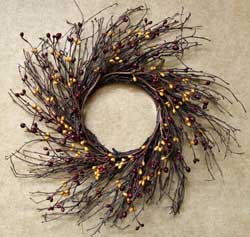 Burgundy & Old Gold Berry Twig Wreath