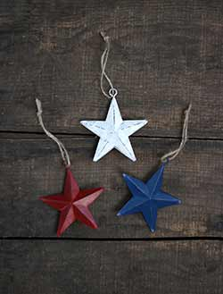 Red, White & Blue 3 inch Star Ornaments (Set of 3)