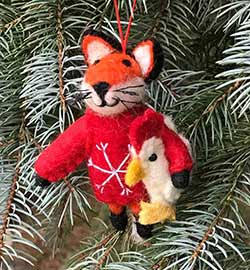 Fox in Red Sweater Wool Ornament