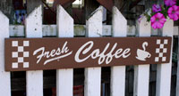 Fresh Coffee Handmade Sign - Brown