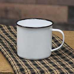 White Enamel Mug with Black Rim - 4 inch