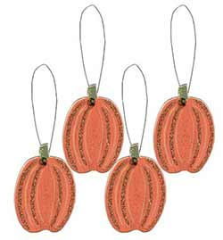 Mini Pumpkin Wood Ornaments (Set of 4)