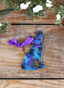 Galaxy Wolf Personalized Ornament