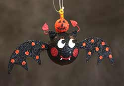 Hanging Bat Ornament - Orange