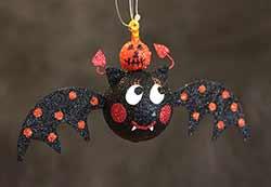 Hanging Bat Ornament - Orange