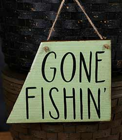Gone Fishin' Hand Lettered Wood Sign