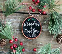 Grandma & Grandpa Wood Slice Ornament (Personalized)