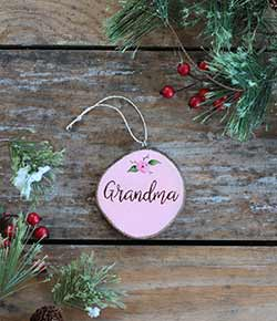 Grandma with Rose Wood Slice Ornament (Personalized)