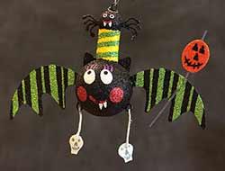 Hanging Bat Ornament - Green