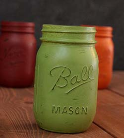 Hand-Painted Mason Jar (Pint) - Avocado Green