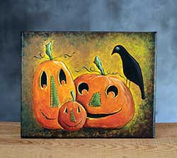 Pumpkin Trio with Crow Halloween Art (Original Painting)