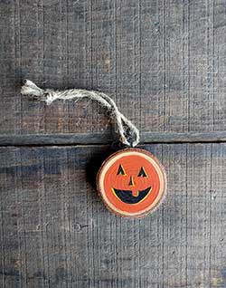 Mini Jack O'Lantern Wood Slice Ornament - Small (Personalized)